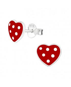 Puces Coeur rouge - Argent 925